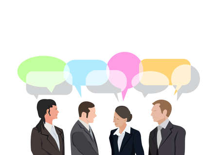 Business people, man and woman , presenting and explaining concept. Flat design Illustration