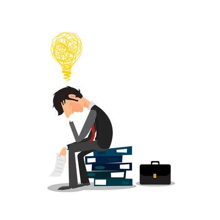 문제와 사무실에서 스트레스를 가진 젊은 비즈니스 맨