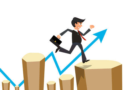 Businessman jumps the obstacle with arrow graph