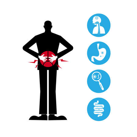 Stomach Ache With Icon Health - Illustration