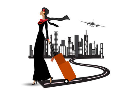 muslim woman traveling through the airport with a suitcase city dubai background