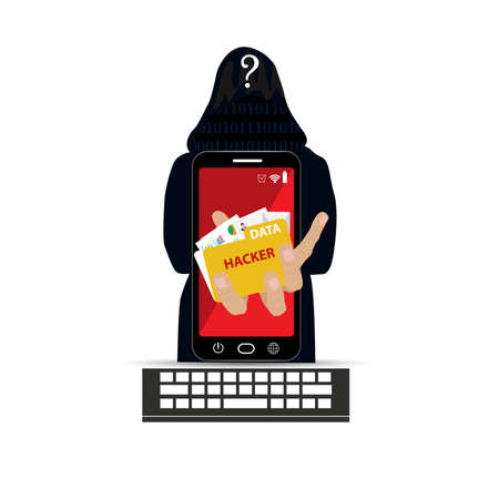 stealing data: Hacker with smartphone wearing balaclava Illustration