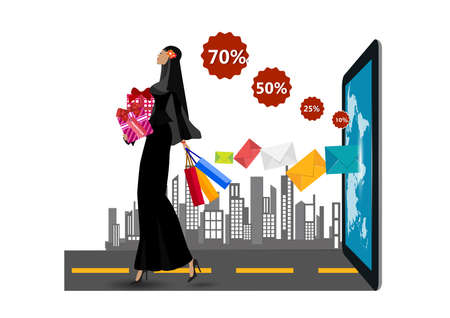 Muslim Woman Hold Shopping Bags Flat Illustration Çizim