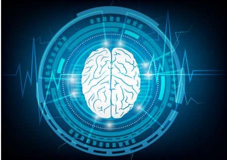 青色の背景技術の抽象的な頭脳波コンセプト