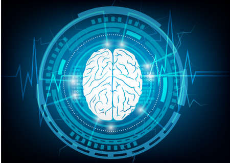 Abstract brain wave concept on blue background technology