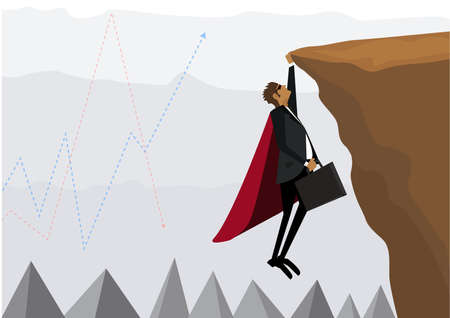 Businessman fly hold on the cliff with burden. Business competition concept