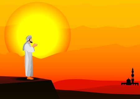 man praying on sunset background