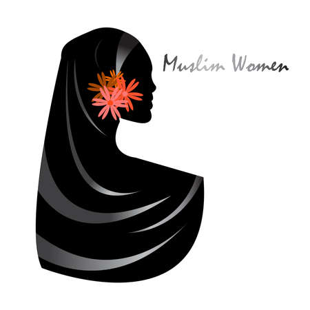Beautiful arab muslim woman. Islamic and nationality tradition, hijab. illustration Ilustracja