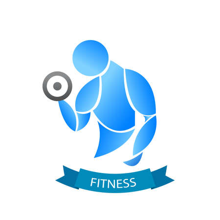 Fitness logo with muscled silhouette Man  holds dumbbells. Vector illustration Vettoriali