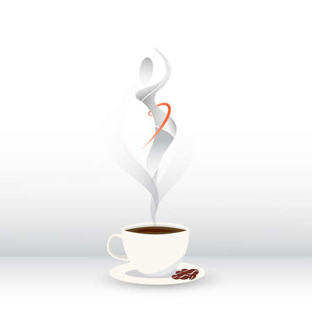 Coffee cup with steam in a shape of a woman. Çizim