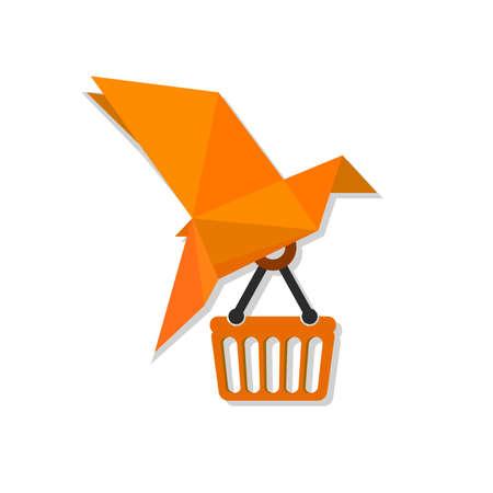 Paper orange bird holding basket