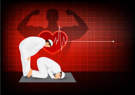 Een gebed voor gezond met effect hart op rode achtergrond.