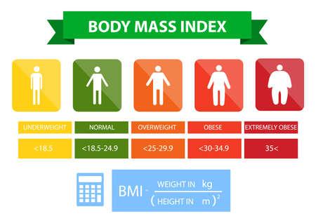 Illustration vectorielle de l'indice de masse corporelle de l'insuffisance pondérale à l'extrême obésité. Silhouettes d'homme avec différents degrés d'obésité. Corps masculin avec poids différent. Banque d'images - 88628283