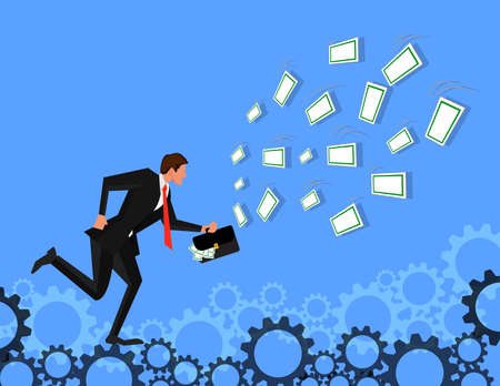 Businessman running for luring with dollar bill on gears background. Being motivated by money. Earning much more money. Pursuit of money. Illustration