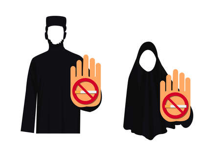 muslim hand rejects cigarette. Stop smoking gesture. Иллюстрация