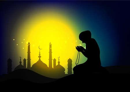 woman praying  on sunset background Ilustrace