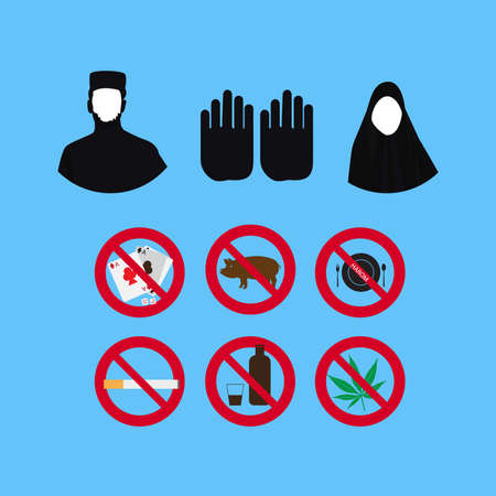 Set of Islamic culture and faith vector icons. Prohibition sign illustration.
