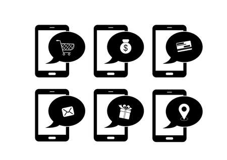 Mobile phones icon set - communication entertainment and shopping