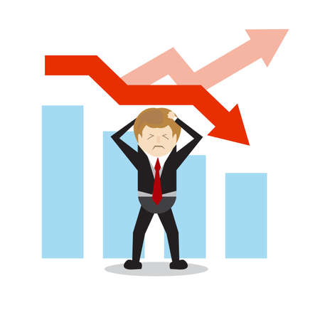 iluustrator-business, faillissement, mensen en stress concept - ongelukkige zakenman over witte achtergrond en forex grafiek naar beneden