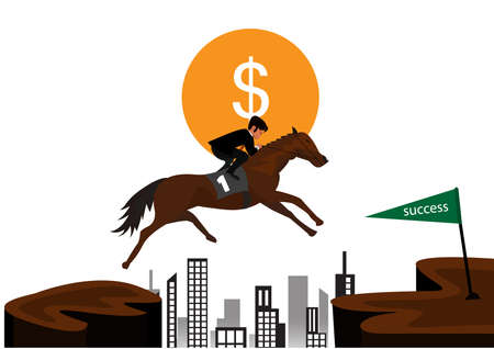 Businessman riding a horse over obstacles across the hill.illustrator Ilustrace