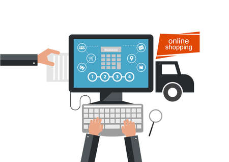 E-commerce, electronic business, online shopping, payment, delivery, shipping process, sales.