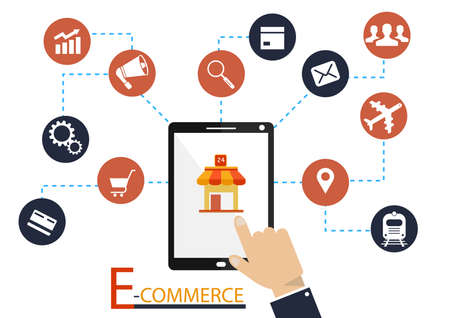 Human hands holding smartphone connected with shopping icons. Concept of online shopping, online store, e-commerce, mobile shopping, buying on internet. Flat design illustration. Square layout.