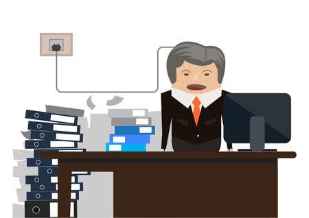 Businessman at desk and paperwork Ilustrace