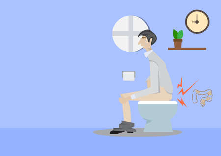 Man sitting on a toilet concept. Illustration