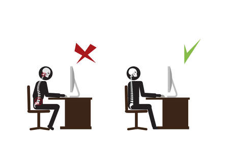 Suffering from Backache. Businessman at Work. illustration