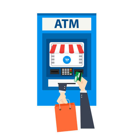 ATM payment vector illustration. ATM machine with hand and credit card. shopping online using credit card. ATM terminal usage