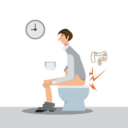 man sitting on a toilet concept.