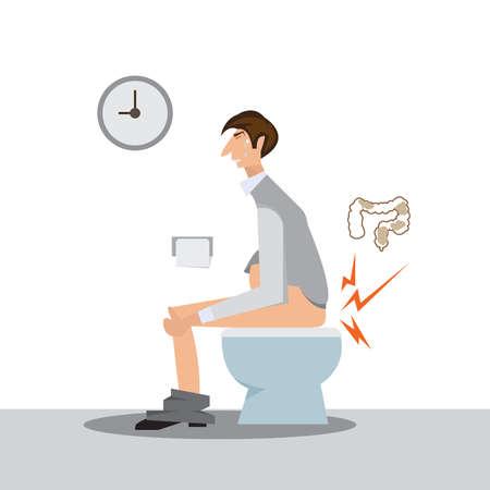 mężczyzna siedzi na koncepcji toalety.