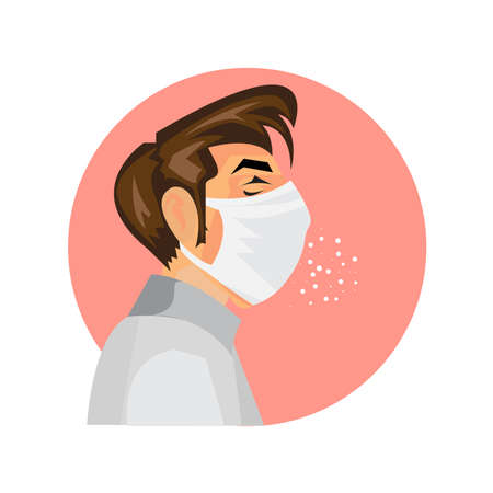 One boy wearing protective mask, suffering from cough. Cartoon isolated illustration on pink background. Illness disease symptoms