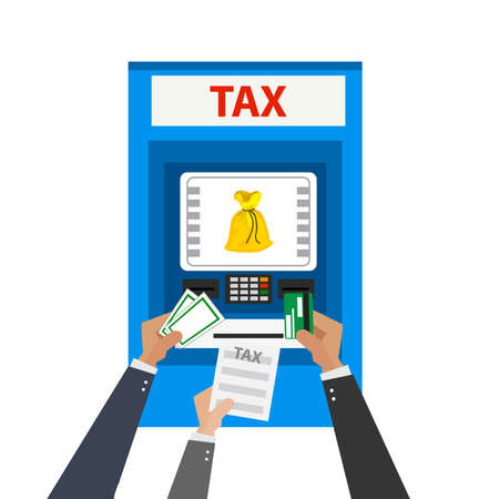 tax payment illustration. tax machine with hand and credit card,cash,bill, . ATM terminal usage