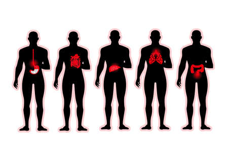 people with heart,liver, Gastric, intestinal, lung disease abstract background Illustration