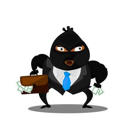 Cute thief character. Vector cartoon illustration. Illustration