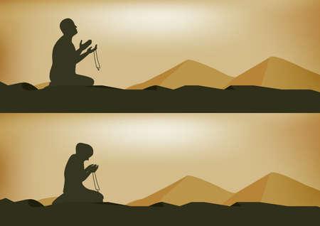 man and woman praying on yellow background