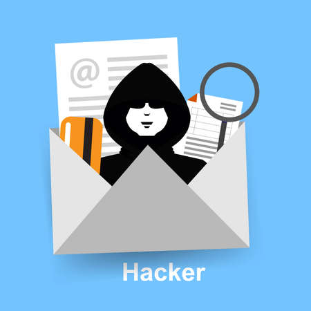 Spam mail and hacker security on letter Ilustrace