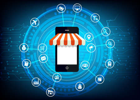 Digital Online shopping outline concept in online store illustration.