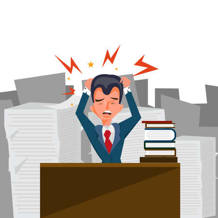 Businessman stress and hard working paper illustration office.