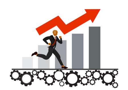businessman running gear on growth chart background.