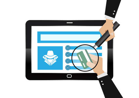Hacker theft hand holding a credit card fraud with magnifying glass for online paying shop. Illustration business cyber crime concept. Ilustrace