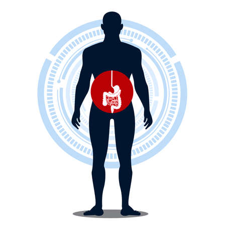 Human body health check intestines with bacteria, germs . Vettoriali