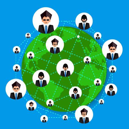 Business hacker and Social network design illustration.