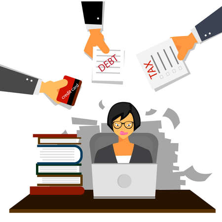 Very busy business woman working hard on her desk in office with a lot of paper work, tax,debt and credit card. Business concept on hard working. 向量圖像
