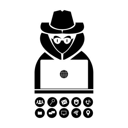 Hacker in silhouette illustration with extra icons.