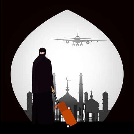 muslim woman traveling through the airport with a suitcase mosque background