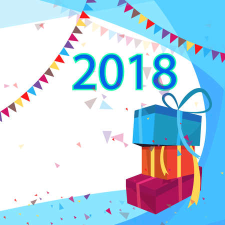Happy New Year 2018 greeting card. Holiday flyer background for new year christmas celebration and 2018 new year.