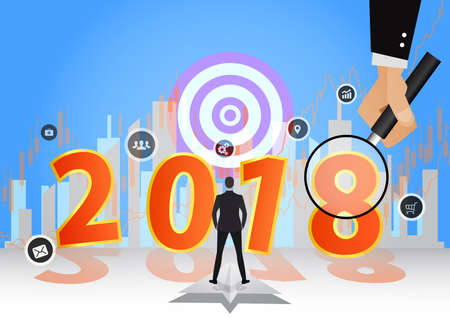 Happy New Year 2018 background decoration. business design template 2018 confetti. illustration of date 2018 year.