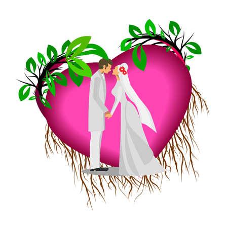 Wedding couple illustration. Wedding couple heart background.